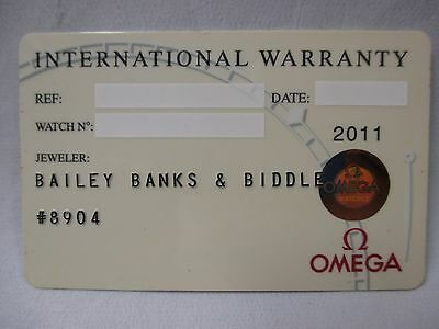 OMEGA Watch White International Warranty Card w/ Dealer Name & Source Code ONLY
