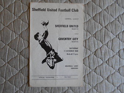 Sheffield Utd Res V Coventry Res Central League Match Programme October 1969