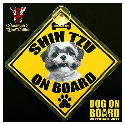 Shih Tzu Dog on Board car signs. LIMITED OFFER-BUY ONE GET ONE FREE!