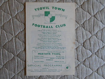 Yeovil Town V Merthyr Tydfil Southern League Match Programme February 1963