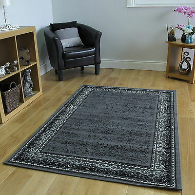 New Grey Border Traditional Rug Small Large Rug Soft Easy Clean Living Room Mat