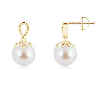 Solitaire Round Akoya Cultured Pearl Dangle Earrings 14K Yellow Gold Silver