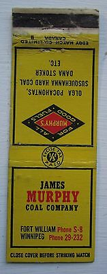 Antique Matchbook Cover James Murphy Coal Fort William Winnipeg Manitoba