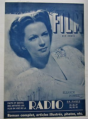 1942 French Montreal Canadian Magazine Cover Le Film  Eleanor Powell