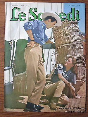 1940 Canadian  French Magazine Cover Barbara Stanwyck Robert Taylor