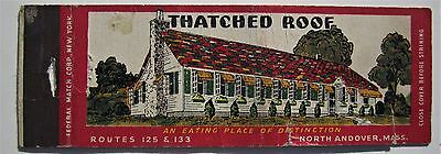Antique  Matchbook Cover Thatched Roof Restaurant Diner North Andover Mass