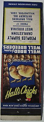 Antique  Matchbook Cover Hall's Chicks Chickens Wallingford Conn Hatchery