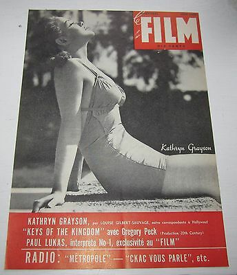 1944 French Montreal Canadian Magazine Cover Le Film Kathryn Grayson