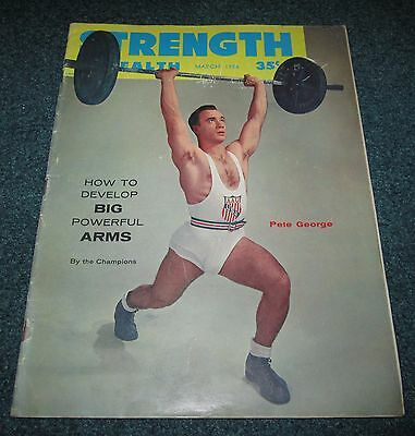 March 1956 Strength And Health Muscle Magazine Pete George Bob Hoffman