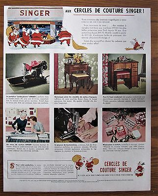 Rare 1949 Canadian French Singer Featherweight Sewing Machine Ad Canada Santa