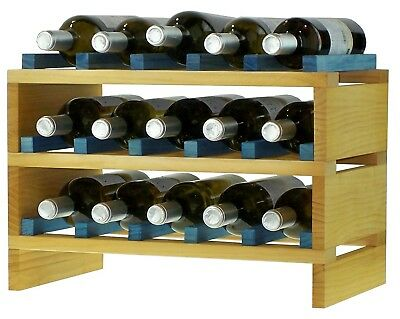 expovinalia ex2715 - Stackable Wine Rack for 15 Bottles, Wooden, Pine and Blue