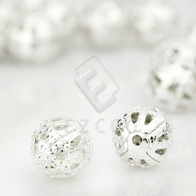 145pcs Metal Spacer Beads Round Jewelry Making Iron 6mm Silver 0.8mm Hole DIY