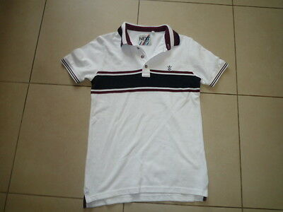 Next - Boys White/blue/burgundy Polo Top (12 Years) - New Without Tags