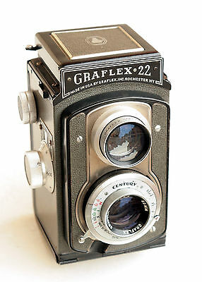 *c1954* ● Graflex ' GRAFLEX 22 ' (GREY) Graftar f3.5 ● TLR Medium format 6x6