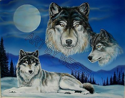 Wolf Poster Full Moon Painting Wolves Art Picture