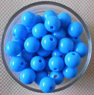 50Pcs 10mm Blue Spacer Acrylic Round DIY Jewelry Loose Beads
