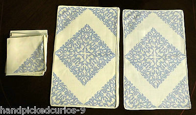 Handprinted blue and white linen mats and napkins, set of 6, Joan Latreille,