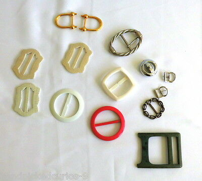 Vintage belt buckles lot, mixed styles, colours, plastic and metal, round, slide