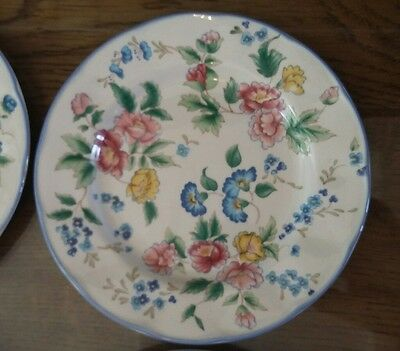 4 Laura Ashley Hazelbury Side Plates Pink, Blue & Yellow Floral Design, 6 3/4""