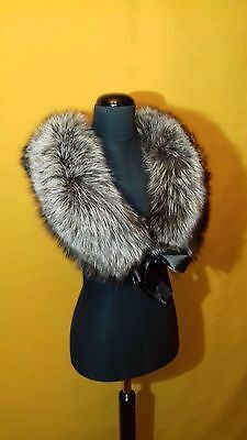 Silver fox fur collar,scarve,shawl,cape