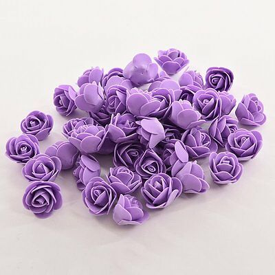 Purple 50pcs Mini Rose Artificial Silk Flower Heads Home Party Wedding Decors