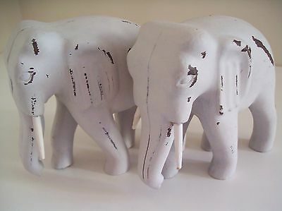 Pair of White Elephant Ornaments - Figures - Rustic Home Decor Finish