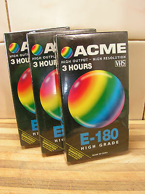 3 Pack ACME E-180, Blank VHS Tapes, Brand New & Sealed.