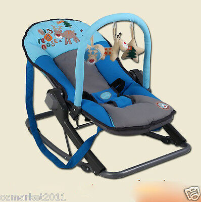 Security Sky Blue Collapsible Baby Swing Chair/Baby Rocking Chair YY