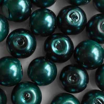 50 Pcs 8mm Peacock Green Glass Pearl Czech Round Loose Beads Jewelry Making