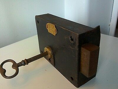 Large Antique Complete  Door Lock & Key Working. Made by  LMY, France