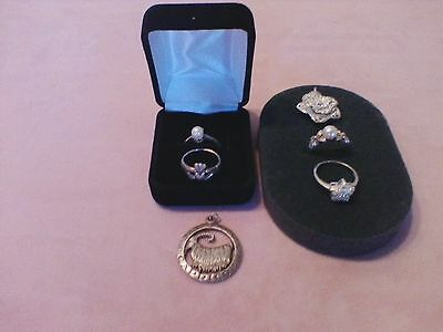 Sterling Silver Jewelry Mixed Lot of Rings & Pendants 925