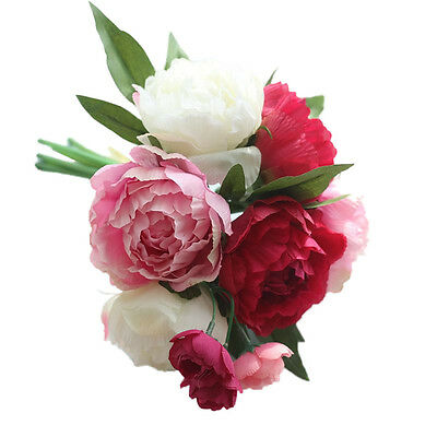 Artificial Fake Flowers Peony Bouquet Floral Wedding Bouquet Party Home Decor F