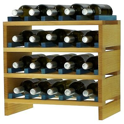 expovinalia ex2720 - Stackable Wine Rack for 20 Bottles, Wooden, Pine and Blue