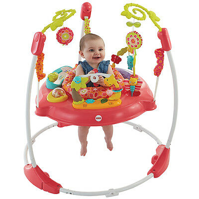 Fisher Price Pink Petals Jumperoo, 360 Degree Baby Bouncer With Sounds & Lights