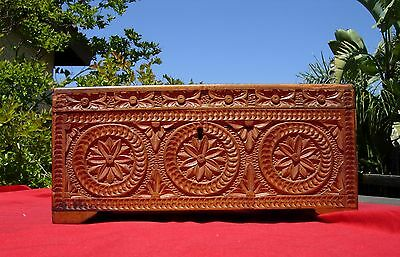 ANTIQUE ORNATE  INTRICATELY CARVED WOODEN BOX South Pacific Patriotic 1907