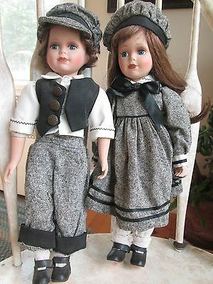 """Vintage Hubao pair of dolls 16"""" from Norway"""