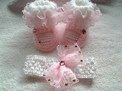 ❤ Hand Knitted Baby Girls Molly Dolly Booties/bootees & Headband 0-3 Months ❤
