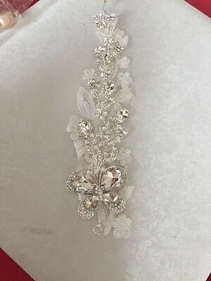 Lace Diamante crystal Silver Butterfly Hair Piece Vine Wedding Accessories