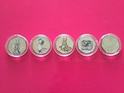 2016 Uncirculated Beatrix Potter 50p Coin Full Set In Colour