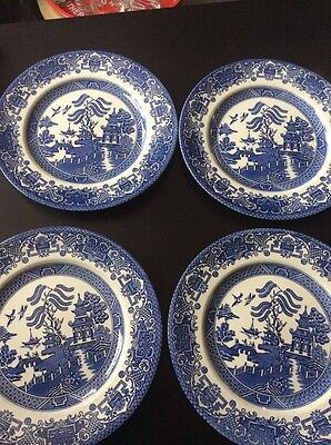 ste of 4 Willow Pattern dinner plates .#C
