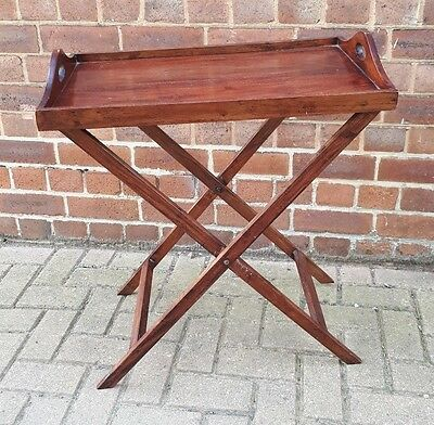 Vintage Edwardian Mahogany Butlers Tea/Serving Tray Table on Foldable Stand