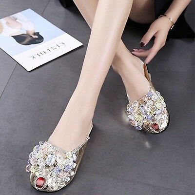 New Women Open Toe Slippers Summer Sandals Casual Crystal Flat Flip-flop Shoes
