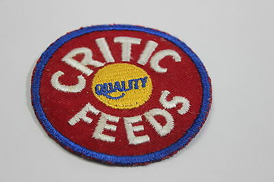 Vintage Critic Quality Feeds Feed Patch Circle Red Blue Yellow White Advertising