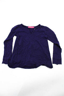 Me N U Girls Purple Henley Style Long Sleeve Knit Top Size Large
