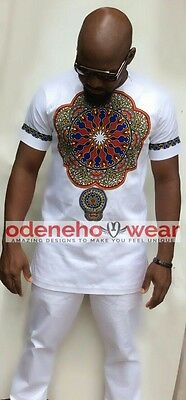 Odeneho Wear Men's White Polished Cotton Top Only With Dashiki.African Clothing