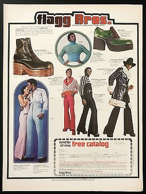 1973 Vintage Print Ad 1970s FLAGG BROS Men's Fashion Foot Fashion Green Shoes