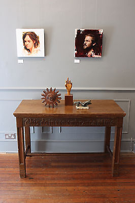 RARE Vintage wooden communion / church table antique carved lettering console