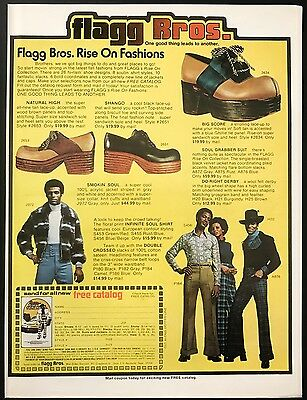 1973 Vintage Print Ad 1970s FLAGG BROS Men's Fashion Foot Fashion High Shoes