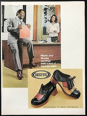1973 Vintage Print Ad 1970s DEXTER SHOES Weekend Style In Office Fun