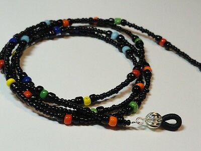 Handcrafted Eyeglass Holder, Black and mult-color, Length and Fastener Choice